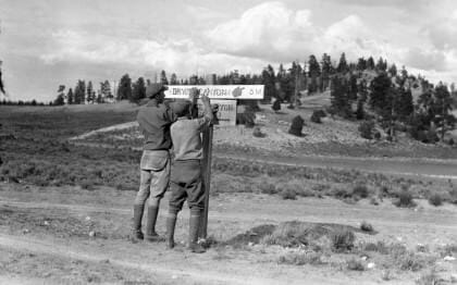 Installing Direction Signs for Bryce 1920's