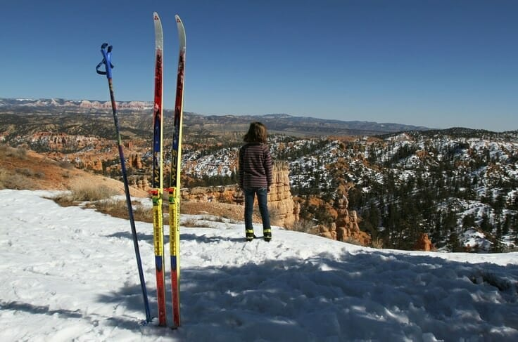 Francisco Kjolseth  |  The Salt Lake Tribune Emmie Eresuma, 8, of Salt Lake takes in the view after skiing in to the rim of red rock country during annual Bryce Canyon Winter Festival being held Feb. 16-18 at Ruby's Inn in Bryce Canyon City.